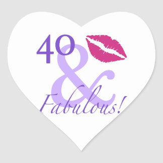 40 And Fabulous Heart Sticker