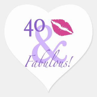 40 And Fabulous Heart Sticker