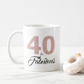 40 and Fabulous Pink Glitter 40th Birthday Coffee Mug