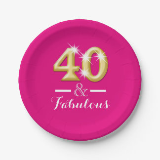 40 and fabulous pink gold birthday 7 inch paper plate