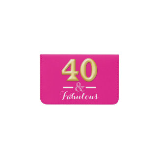 40 and fabulous pink gold birthday business card holder