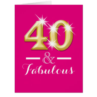 40 and fabulous pink gold birthday card