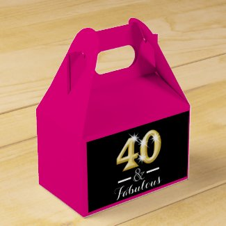 40 and fabulous pink gold birthday favor box