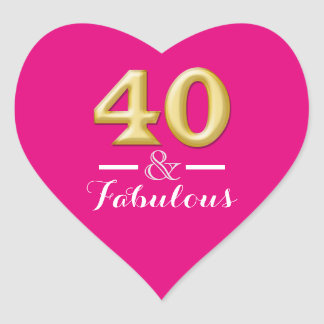 40 and fabulous pink gold birthday heart sticker