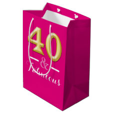 40 and fabulous pink gold birthday medium gift bag