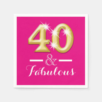 40 and fabulous pink gold birthday standard cocktail napkin
