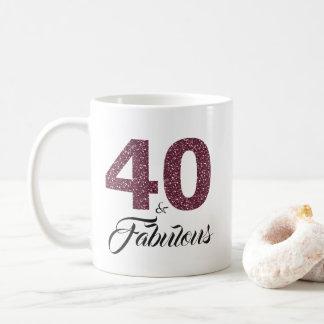 40 and Fabulous Purple Glitter 40th Birthday Coffee Mug