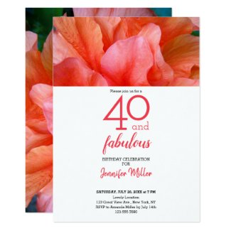 40 and Fabulous Tropical Flower Photo Birthday Card