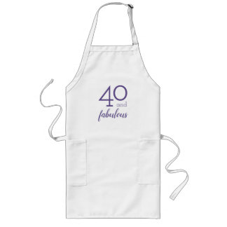 40 and Fabulous, Violet and White Apron