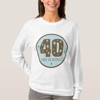 40 años de 40.o azul del cumpleaños de los jóvenes playera