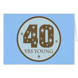 40 años de 40.o azul del cumpleaños de los jóvenes tarjeta de felicitación