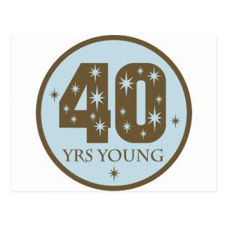 40 años de 40.o azul del cumpleaños de los jóvenes tarjetas postales