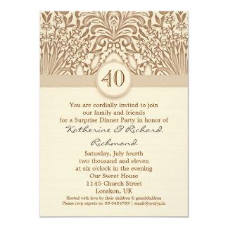 """40 años de boda del aniversario de marrón del invitación 4.5"""" x 6.25"""""""