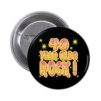 ¡40 años de la roca! Botón (rosado) Pins