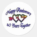 40 años junto pegatina redonda
