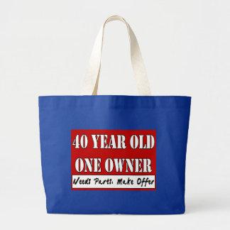 40 años que un dueño necesita piezas hacen el tote bolsa tela grande
