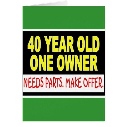 40 años que un dueño necesita piezas hacen oferta tarjeta de felicitación
