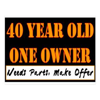 40 años, un dueño - las piezas de las necesidades, postales