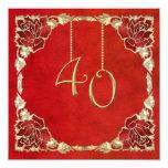 """40.as invitaciones del aniversario de boda del invitación 5.25"""" x 5.25"""""""