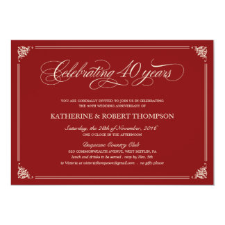 40.as invitaciones del aniversario del rubí formal invitación 12,7 x 17,8 cm
