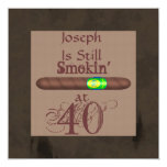 40.as invitaciones del cigarro del cumpleaños de invitación 13,3 cm x 13,3cm