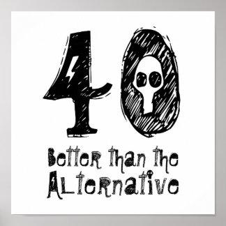 40 Better Than Alternative 40th Funny Birthday Q40 Poster