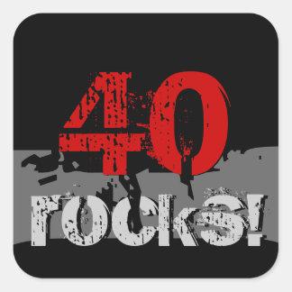 40 Birthday - 40 Rocks! Grunge Red and Black Square Sticker