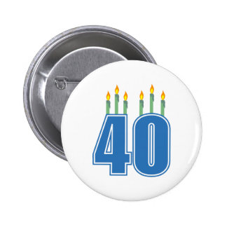 40 Birthday Candles (Blue / Green) Button