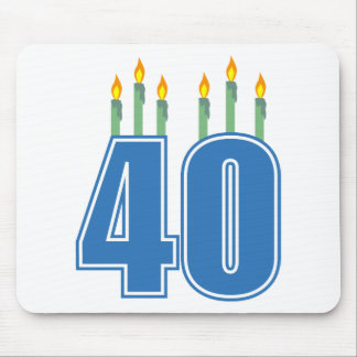 40 Birthday Candles (Blue / Green) Mouse Pad
