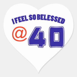 40 birthday design heart sticker