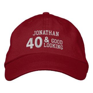 40 Birthday Good Looking RED and WHITE W40E Embroidered Baseball Hat