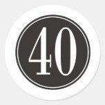 #40 Black Circle Classic Round Sticker
