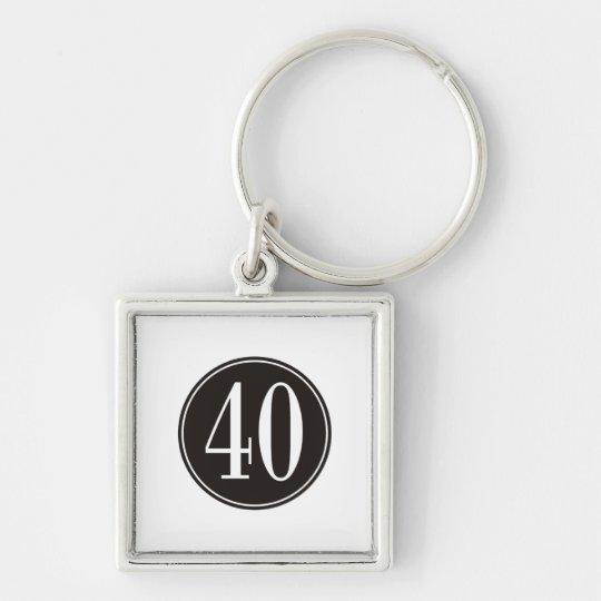 #40 Black Circle Keychain