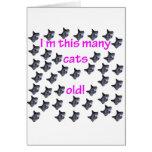40 cabezas del gato viejas felicitación