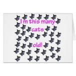40 cabezas del gato viejas tarjetón