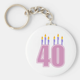 40 Candles (Pink / Purple) Keychain
