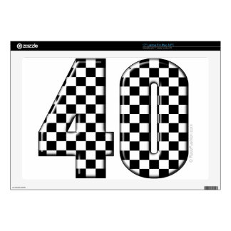 "40 checkered number skin for 17"" laptop"