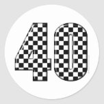 40 checkered number stickers