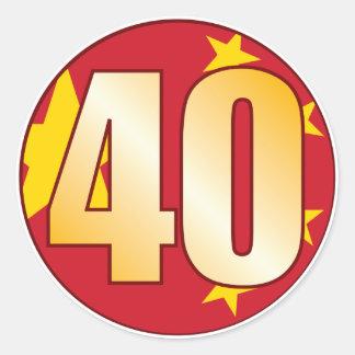 40 CHINA Gold Classic Round Sticker