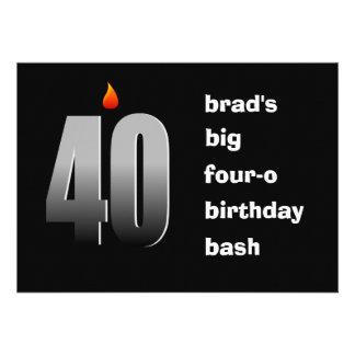 40 con la llama, invitación grande del fiesta del