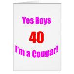 40 Cougar Birthday Card