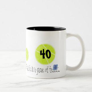 40… es apenas el tercer punto… por tenis del lago tazas de café