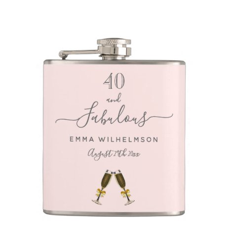 40 fabulous birthday custom photo rose gold pink flask