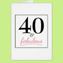 40 & Fabulous Birthday Pink & Black Birthday Card