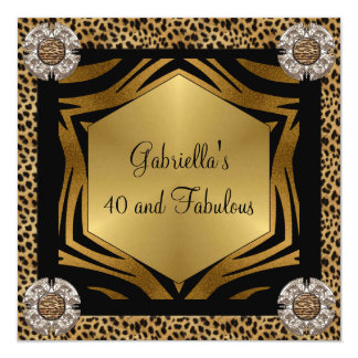 40 & Fabulous Black Exotic Animal Birthday Card