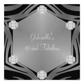 40 & Fabulous Black Exotic Animal Jewel Birthday Card
