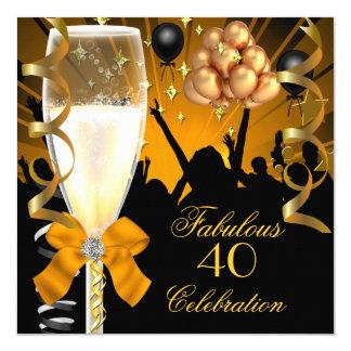 40 & Fabulous Gold Black Birthday Champagne 5.25x5.25 Square Paper Invitation Card