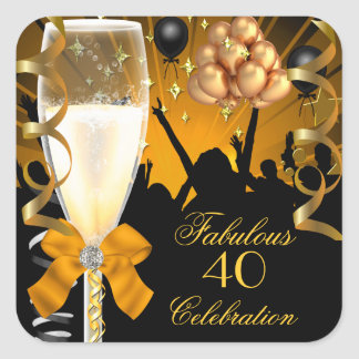 40 & Fabulous Gold Black Birthday Champagne Square Sticker