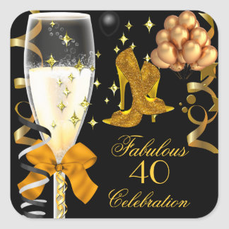 40 & Fabulous Gold Black Birthday Shoes Square Sticker
