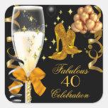 40 & Fabulous Gold Black Birthday Shoes Square Sticker
